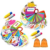 Gimilife 2 Pack Water Doodle Card, Children Education Cognitive Drawing Cards, Magic Painting Card Delicious Food&Daily Necessities with 2 Magic Pen Included, Beast Learning Toy for Toddlers Gift