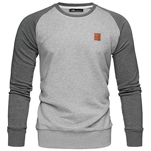 Amaci&Sons Herren Basic College Sweatjacke Pullover Hoodie Sweatshirt 4050 Hellgrau/Anthrazit 3XL