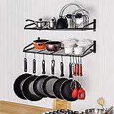 Estante para ollas de 2 niveles Montado en la pared Estantes para colgar ollas Organizador de estantes para ollas con 10 ganchos y soporte para tapas de ollas