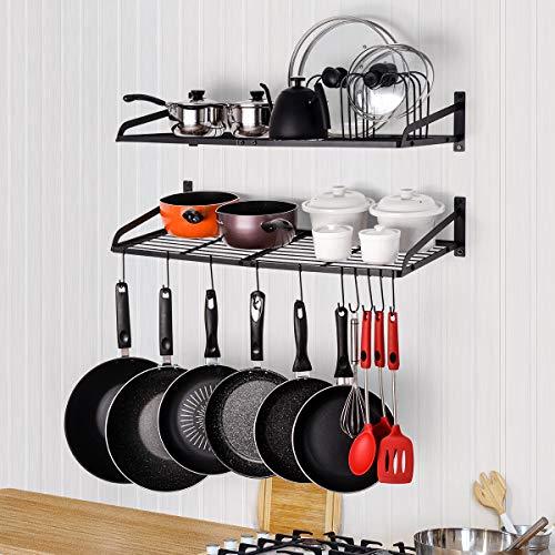Sunix Pan Pot Rack, Wall Mounted 2-Tier Pan Hanging Racks, Pot Shelf Organizer with 10 Hooks and Pot Lids Holder