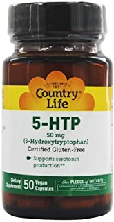 Country Life - 5-HTP, Supports Biosynthesis of Seratonin, 50 mg - 50 Vegetarian Capsules