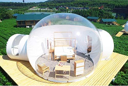 ESACLM Aufblasbares Blasenzelt im Freien mit Doppelt Tunnel Gewächshaus Pavillon Baldachin Camping Hinterhof Transparentes Zelt Großes übergroßes Wettergehäuse mit Gebläse und Reperaturset