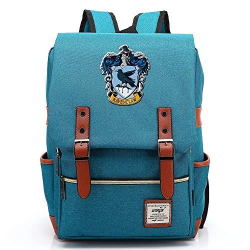 Harry P Rucksack, Ravenclaw Casual Rucksack, Hogwarts College Fashion Travel Bag, Gold Reißverschluss Große Ocean Blue