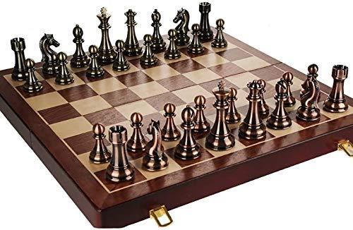 Juegos de ajedrez Tablero de ajedrez cuadrado Tablero de ajedrez de cuero Tablero de ajedrez magnético para adultos Juego de rompecabezas Tubo de almacenamiento (Ejercicio de pensamiento intelectual)