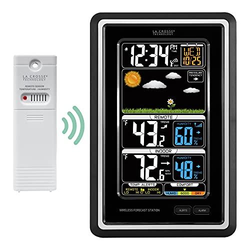 Estación de previsión meteorológica vertical inalámbrica en color y con alertas de temperatura, de La Crosse Technology - S88907