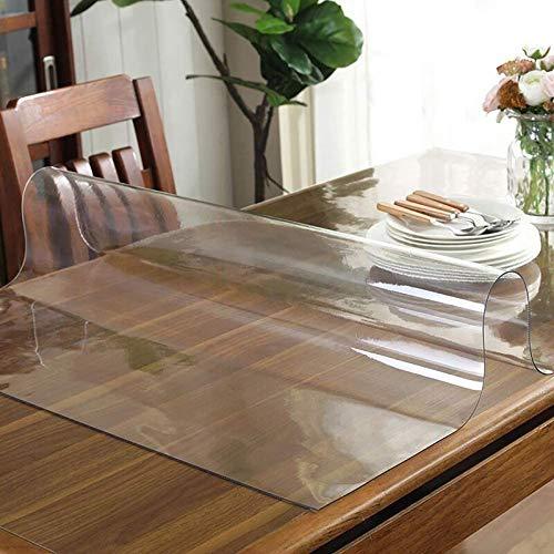 XJN Mantel Protector de PVC Impermeable para Mesa, Mesa de Escritorio Rectangular Antimanchas Protege la Mesa Mueble de Cocina o Restaurante Mantel Protector de de plástico Transparente