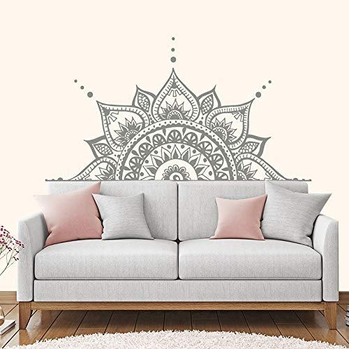 HNXDP Kopfteil Dekor Lotus Blume Mandala Aufkleber Halbes Mandala Wand Vinyl Aufkleber Schlafzimmer Indisches Yoga Vinyl Boho Aufkleber MT21 42x85cm