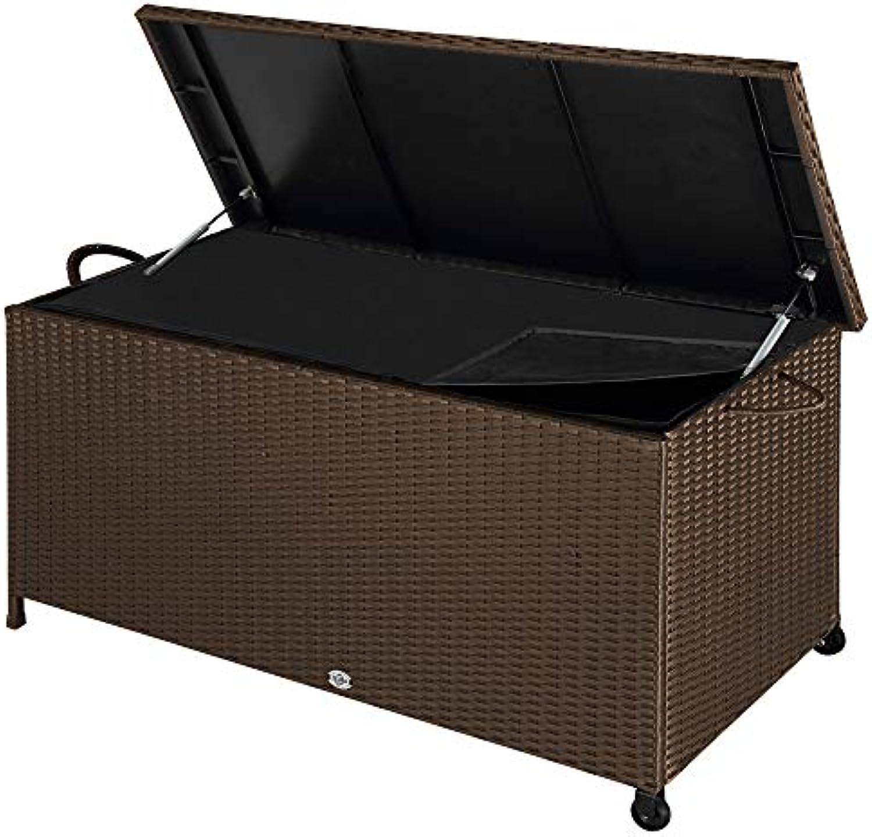 Deuba Auflagenbox  122x56x61 cm  Poly Rattan  Wasserdicht Rollbar 2 Gasdruckfedern Kissen Garten Box Truhe braun