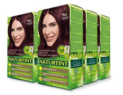 Naturtint Permanent Hair Color 4M Mahogany Chestnut (Pack of 6), Ammonia Free, Vegan, Cruelty Free, up to 100% Gray Coverage, Long Lasting Results