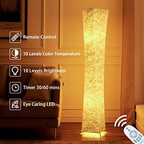 Floor Lamp, CHIPHY Tall Lamp, 10 Levels Dimmable and Adjustable Color Temperature 12W/2 2400 Lumens LED Bulbs and White Fabric Shade, with Remote Control, Cool for Bedroom, Living Room and Kids Room