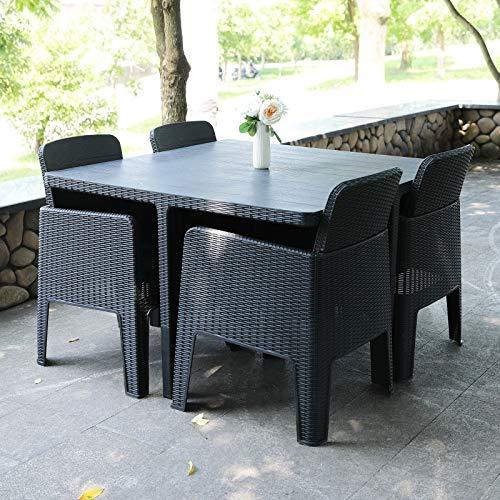EIVD Juego de 5 piezas al aire libre de ratán PE jardín comedor cubo conjunto de muebles de terraza