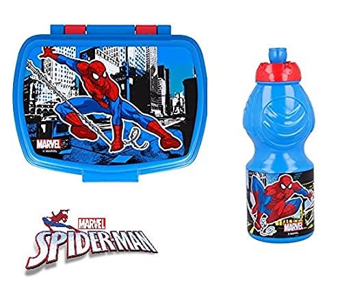 Set Pranzo Scuola 2 Pezzi Portamerenda e Borraccia in Plastica Bambini Bambino Merenda Launch Box - BPA Free Spiderman