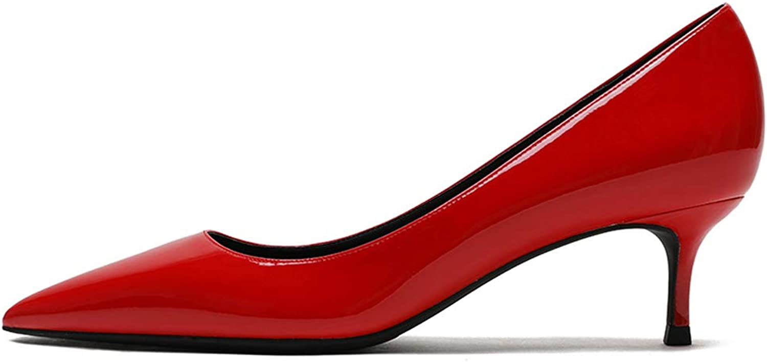 VOCOSI Women's Patent Leather Closed Pointed Toe Kitten Heel Wedding Party Dress Pumps