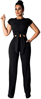 Womens Casual Two Piece Outfits - Sexy Tie Front Crop Top with Long Pants Tracksuit Set