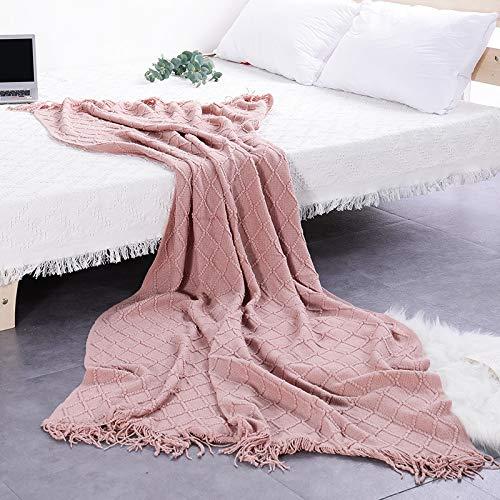 xingguang Manta nórdica de algodón súper suave para sofá o sofá, funda decorativa con costuras de viaje (color: rosa, tamaño: 127 x 180 cm)