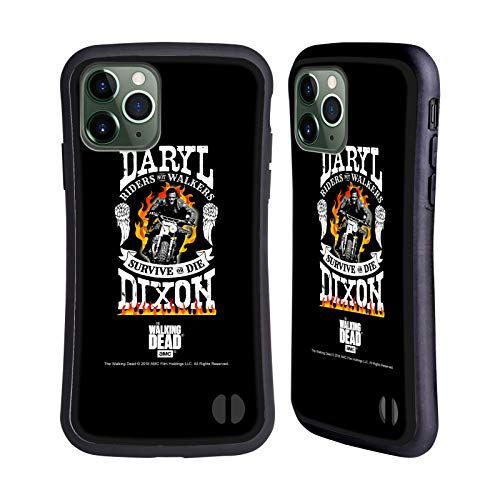 Officiële AMC The Walking Dead Motorfiets Vlammen Daryl Dixon Biker Kunst Hybrid Case Compatibel voor Apple iPhone 11 Pro