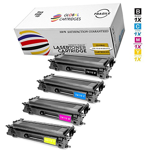 Global Cartridges Premium Quality Compatible High Yield Toner Cartridge Set Replacement for Brother TN115 (Black, Cyan, Yellow, Magenta, 4-Pack)