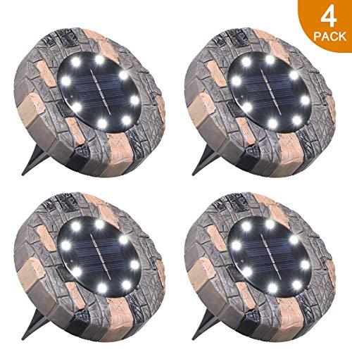 Solarlampe Boden Tomshine, Boden Solarleuchte 10 LED s Wasserdicht Bodenleuchte Gartenleuchte außen für Garten,Hof【4 Stück Weiß】