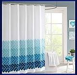 Duschvorhang waschbar Vorhang Digitaldruck inkl. Vorhangringe Anti Schimmel Welle Zick Zack Motiv Badezimmer Badewanne (240 x 200cm BxH #5)