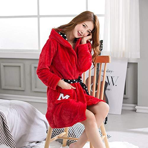 Camisón para Mujer Invierno Franela Gruesa Rojo Mickey con