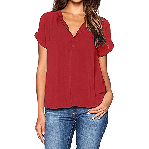Momoxi T-Shirt Damen, Damen Damen Sommer V-Ausschnitt T-Shirts Lässige Tops Bluse T-Shirt