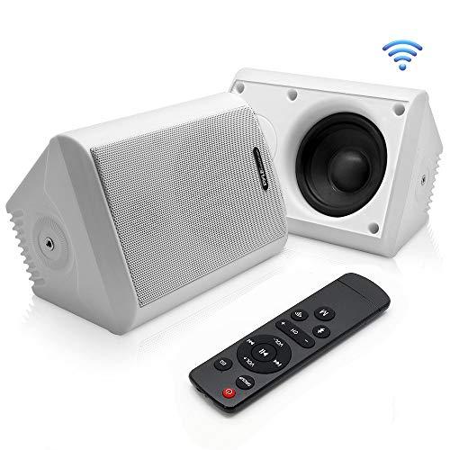 Dual Bluetooth Wall Mount Speakers - 6.5 Inch 300 Watt Pair of 2-Way Audio Waterproof Weatherproof Indoor Outdoor WiFi Enabled Speaker System - in a Heavy Duty Grill Cabinet - Pyle PDWR66IFBWT (White)