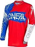 O'Neal Elemento Burnout MX Motocross Jersey, Jersey Shirt Enduro Fuoristrada Fuoristrada Quad Cross Adulti, 0008 - Rosso, L