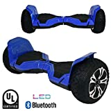 BornTech UL2272 Certified All Terrain 8.5' Wheels Off Road Hoverboard Electric Scooter Smart Self-Balancing Hover Board with Built-in Bluetooth Speaker and LED Light (Blue)