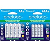 Panasonic  Eneloop AA and AAA 2100 Cycle Ni-MH Pre-Charged Rechargeable Batteries Bundle (8 Pack of Each)