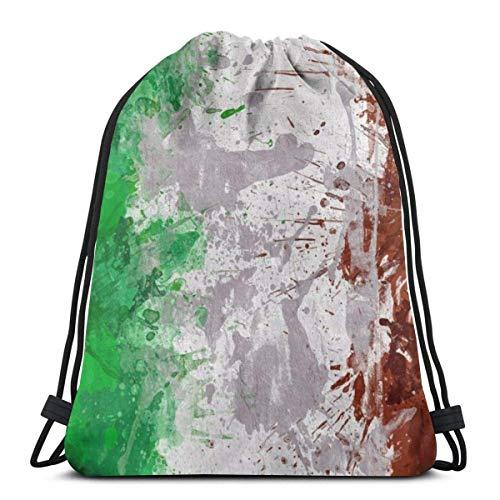 LREFON Mochila con cordón para gimnasio, mochila con bandera de Italia, mochila para almacenamiento deportivo, organizador de zapatos, botella de agua para ahorro, estudiante