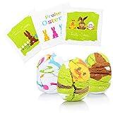 com-four 6x Magisches Oster-Ei Handtuch aus 100% Baumwolle, Zauberhandtuch mit verschiedenen Oster-Motiven und Osterhasen mit Beschriftung Frohe Ostern [Auswahl variiert] (06 Stück - Handtuch Ostern)