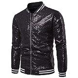 Mens Sparkle Sequin Zipper Front Baseball Bomber Jacket Party Costume Jacket (Bling Black, XXL)