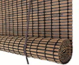 Seta Direct, Bamboo Slat Roll Up Window Blind 24-Inch Wide by 72-Inch Long, Espresso Brown