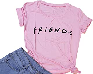Hioinieiy Women`s Friends T Shirt Summer Casual Short Sleeve Graphic Tees Tops (9 Color)