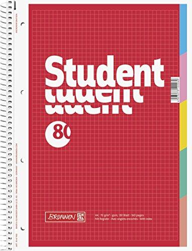 Brunnen 1067902 Notizblock / Collegeblock Student (mit Register, A4, kariert, 70 g/m², 80 Blatt)