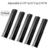 Outspark Universal Replacement Heavy Duty Adjustable Porcelain Steel Heat Plate Shield Heat Tent Flavorizer Bar Burner Cover Flame Tamer for Gas Grill Extends from 11.75' up to 21' L (5-Pack)