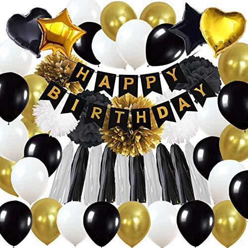 """63Pcs Geburtstagsdeko, Geburtstag Dekoration, happy birthday girlande, 18. Geburtstag Dekorationen für Männer,Einschließlich""""ALLES GUTE ZUM GEBURTSTAG"""" Banner,Stern Herz Ballon,Papier Pom Poms"""