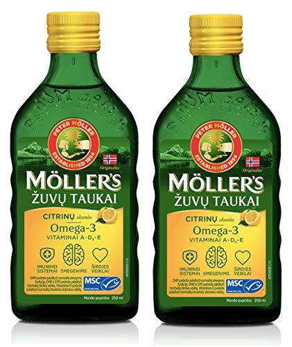 Olio Di Fegato Di Merluzzo Di Pesce Di Moller Con Omega 3, vitamine A, D ed E, aroma Limone Integratore liquido da 250 ml Extra Puro Di Alta Qualità Made In Norvegia x 2 Bottiglie