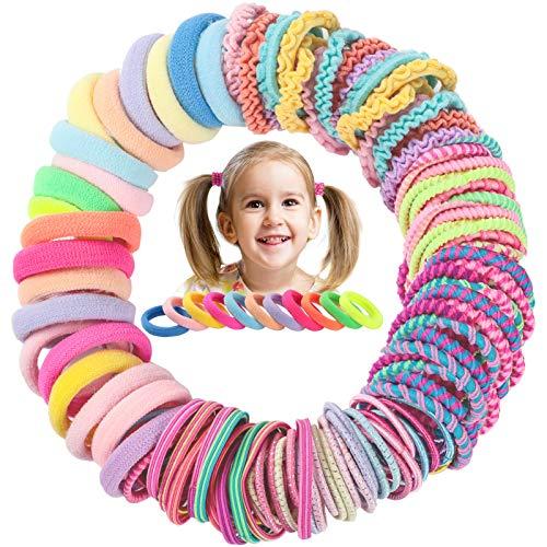 120 Piezas Lazos Coloridos para Cabello para Niñas Bebés Bandas de Pelo Accesorios para Cabello sin Arrugas Mini Soportes Pequeños de Cola de Caballo Gomas Elásticas para Pelo con 10 Estilos