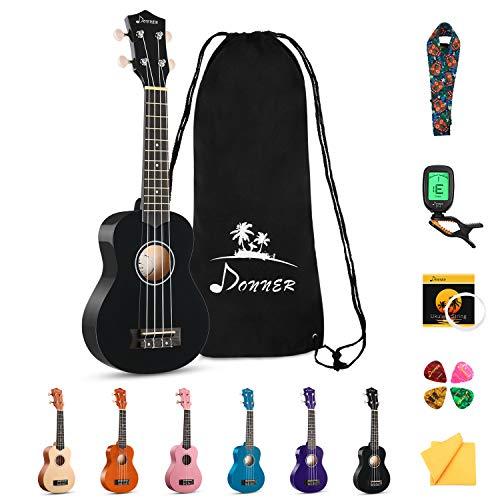 Donner Soprano Ukulele Beginner Kit for Kid Adult Student with Online Lesson 21 Inch Ukelele Bundle Bag Strap String Tuner Pick Polishing Cloth, Rainbow Series-Black Color DUS-10D