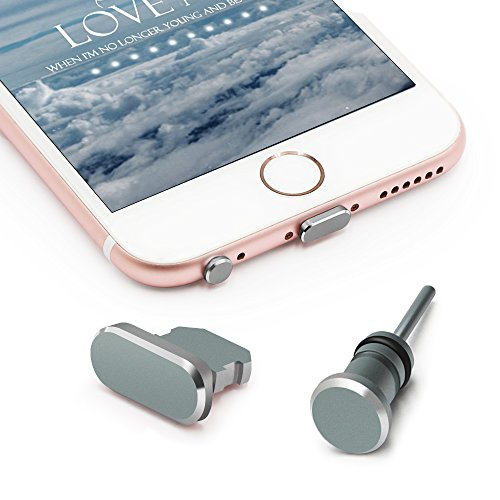 iMangoo Anti Dust Plug Set for iPhone Charging Port Plug and 3.5mm Earphone Plug with Case for Easy Storage Protect Cell Phone Charge Port and Headphone Jack for iPhone 5 5s SE 5c 6s 6 Plus Grey