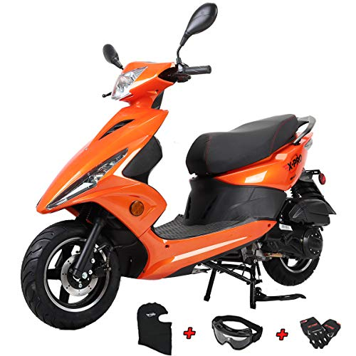 "X-PRO Bali Moped Scooter Street Scooter Gas Moped 150cc Adult Scooter Bike with 10"" Aluminum Wheels! Fully Assembled in Crate! (Orange)"