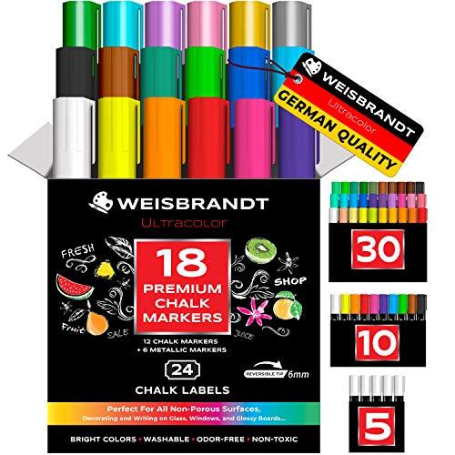 WEISBRANDT UltraColor Vibrant Liquid Chalk Markers & Metallic Colors, Pack of 18, Dry Erase Marker Pens, for Chalkboards, Whiteboards, Blackboards, Glass, Reversible 6 mm Tip, 24 Chalkboard Labels