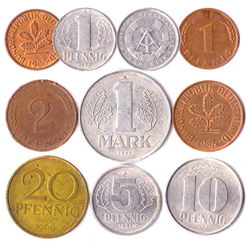 10 Germany Coins from East and WEST Europe: Pfennig, Mark 1948-2001. Perfect Choice for Your Coin Bank, Coin Holders and Coin Album