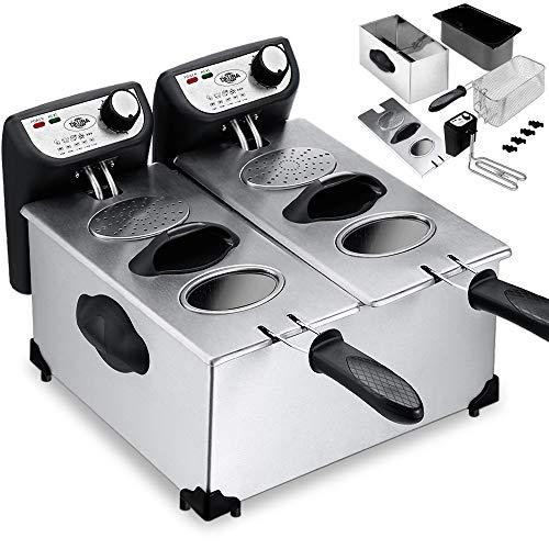 Deuba® Fritteuse Friteuse Fritöse Frittöse I 2x3 Liter I 2200 Watt I Edelstahl I kaltzonen I komplett zerlegbar I stufenlos temperierbar