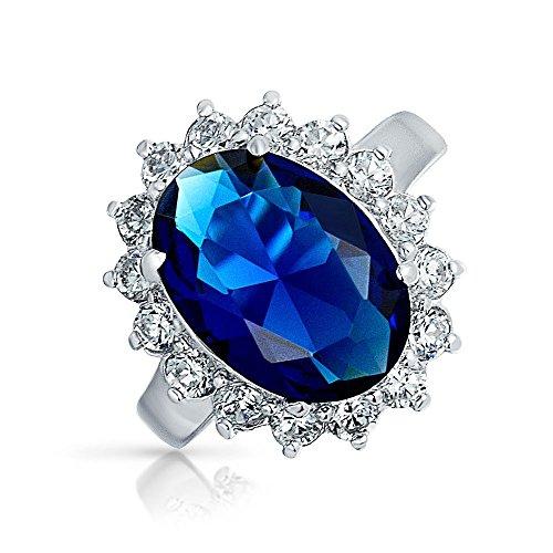 6Ct Azul Real Safiro Simulado Ovalado Zirconio Cúbico CZ Corona Halo Para Mujer Promesa Anillo De Plata Esterlina