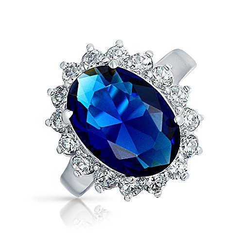 6CT Royal Blu Ovale Cubic Zirconia Zaffiro Simulato CZ Crown Halo Impegno per Donne Promessa Ring Sterling Argento