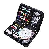 ROSENICE Suministros de costura con caja de costura portátil Agujas de coser prácticas Accesorios de costura para la oficina en casa Viajes Principios de emergencia 79pcs