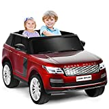 Costzon 2-Seater Ride on Truck, 24V Licensed Land Rover Battery Powered Car w/ 2.4G Remote Control, LED Lights, MP3/USB/TF, Music, Spring Suspension, Storage Box, Electric Vehicle for Kids (Red)