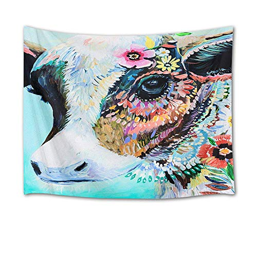 HVEST Animal Tapestry Watercolor Cow with Flowers Tapestry Wall Hanging Animal Tapestries for Kids Bedroom Living Room Dorm Party Wall Decor,60Wx40H inches